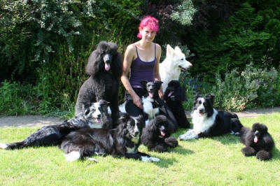 Angela with her dogs